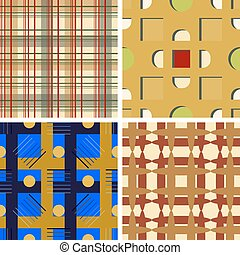 Set of four seamless vector patterns
