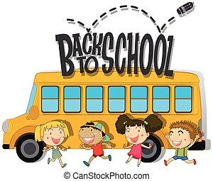 escuela, niños, espalda,  schoolbus