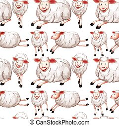 Seamless sheep with happy face