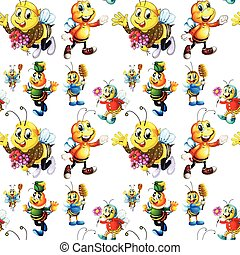 Seamless bee in cute costume illustration