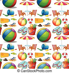 Seamless beach objects and toys illustration