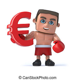 3d Boxer holds a red Euro currency symbol - 3d render of a...