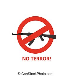 No terror sign - No terror icon Black gun and red round...