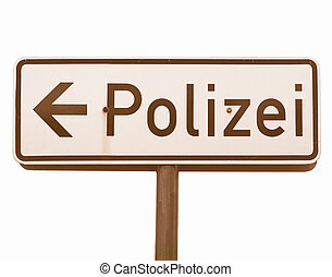 Polizei sign vintage - German Polizei (Police) sign isolated...