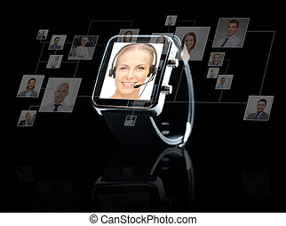 close up of black smart watch with contacts online - modern...