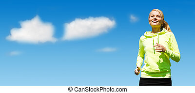 woman jogging over blue sky and clouds background - sport,...