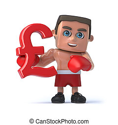 3d Boxer holds a UK Pounds Sterliing currency symbol - 3d...