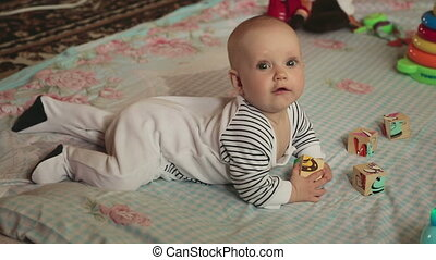 Six month baby girl - Little six month baby girl crawling...