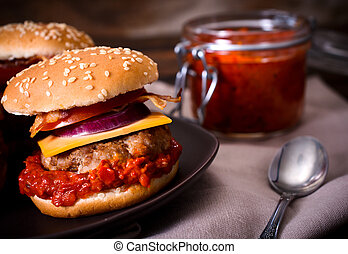 Beef burgers and ajvar salad - Mini beef burger stuffed with...