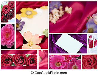 Valentine or Mothers Day collage of roses and satin fabric