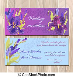 Wedding invitation card with purple iris flower background. Vector illustration