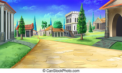 Ancient road in Rome. - Digital painting of ancient road in...