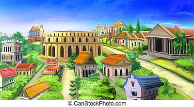 Ancient Rome - Digital painting of ancient Rome with...