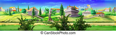 Ancient Rome panorama view. - Digital painting of ancient...