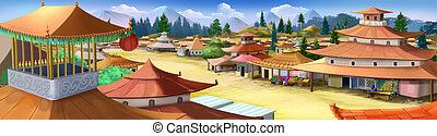 Small city in ancient China. - Digital painting of the...