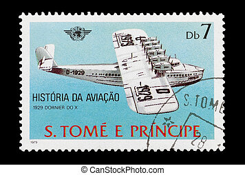 dornier seaplane - mail stamp printed in Africa featuring a...