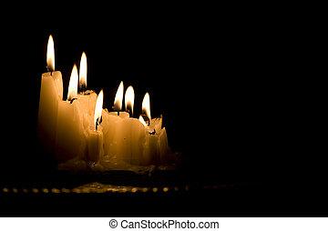 Oscuridad, velas, blanco, grupo, abrasador