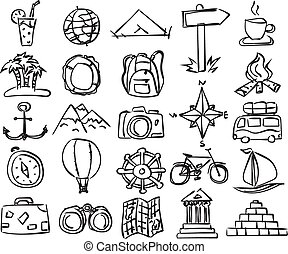 vector travel icons - Travel icons set Vector doodle sketch...