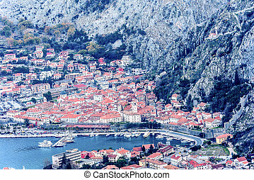 Kotor old town and Boka Kotorska Bay in the early morning,...