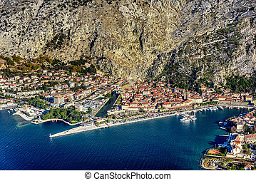 Kotor old town and Boka Kotorska Bay in the early morning,...
