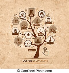 Infographic concept -  tree with coffee icons for your design