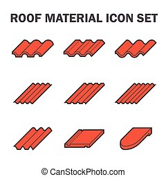 Roof tile icon - Roof material icon set.
