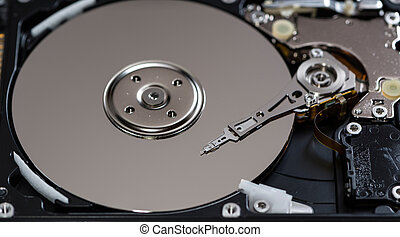 Open Hard Disk Drive detailed close-up shot