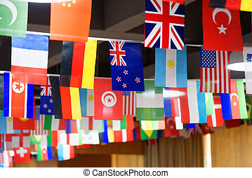 Many countries flags on a rope