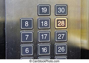 28, (twenty, eight), chão, elevador, botão,...
