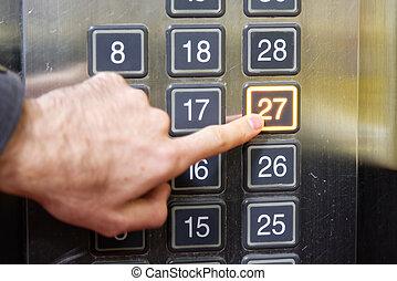 27, (twenty, seven), chão, elevador, botão,...