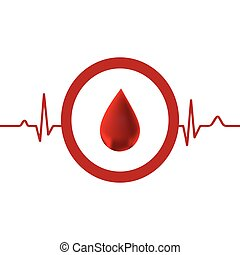 Red heart with ekg on white - medical design.