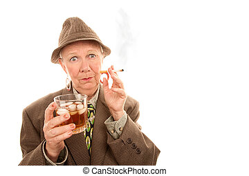 Senior man smoking cigarette - Senior woman in drag with...