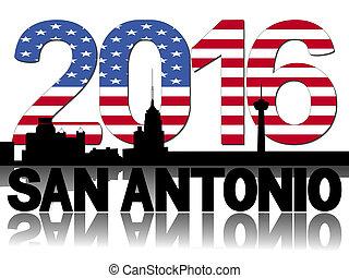 San Antonio skyline 2016 flag text illustration