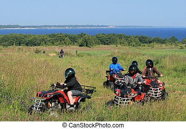 Buggy excursion at the seashore - Group of young children...