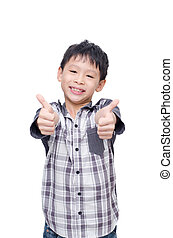 boy smile and showing thumbs up - Asian boy smile and...