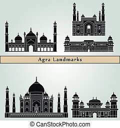 Agra Landmarks - Agra landmarks and monuments isolated on...