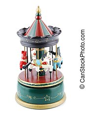 Antique wooden toy - beautiful wooden antique carousel toy...