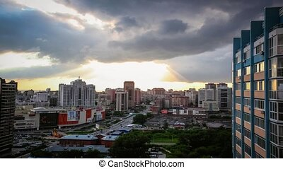 Timelapse of bird view over city of Novosibirsk. Russia...