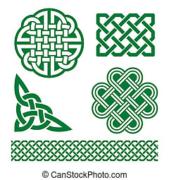 Celtic green knots, braids and patt - Set of traditional...