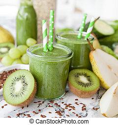 Green smoothie with kiwi