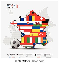Road To France 2016 Football Tournament Sport Infographic...