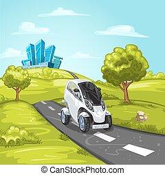 Mini car on asphalt road