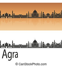 Agra skyline in orange background in editable vector file