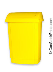 Garbage can - Yellow garbage can isolated on white...