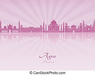 Agra skyline in purple radiant orchid in editable vector...