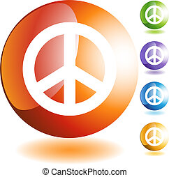 Peace Sign - Peace sign web button isolated on a background