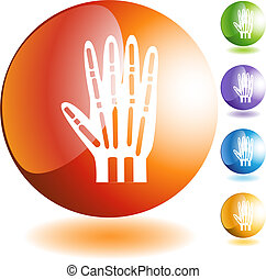 X-ray Hand - X-ray hand web button isolated on a background