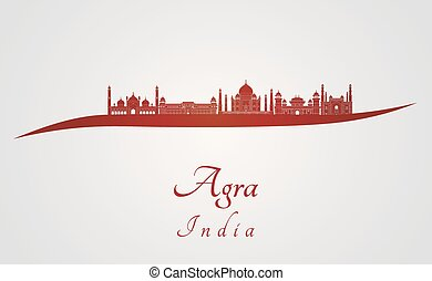 Agra skyline in red and gray background in editable vector...