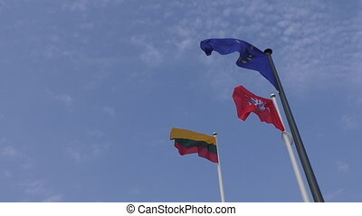 Lithuanian and European Union flags - Three flags on the...