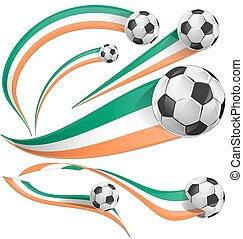 ireland and ivory coast flag with soccer ball